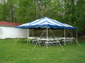 Where to rent TENT, 20  X 20  BLUE WHITE STRIPED in Fairmont MN
